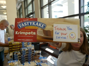 A nice note from the person who donated this box of Tastykakes.