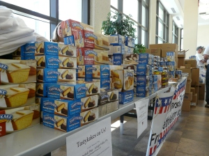 Some of the many boxes of Tastykakes that were donated.