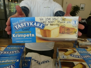 Another nice note from someone who donated Tastykakes!