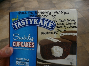 I enjoyed finding these boxes of Tastykakes with notes written on them for the wounded warriors. How sweet.